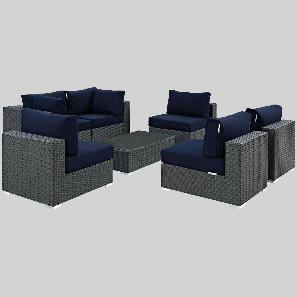 Sojourn 7pc Outdoor Patio Sectional Set With Sunbrella Fabric Navy Modway