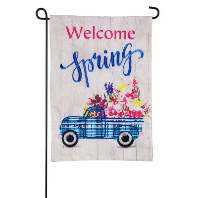 Evergreen Flag Welcome Spring Plaid Truck Garden Burlap Flag
