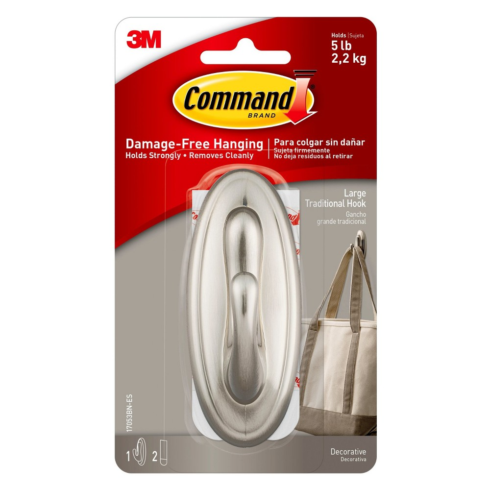 3M Command Large Traditional Hook Brushed Nickel