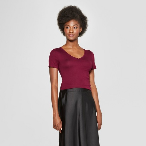 d0fcbaf1fc2 Women s Fitted Short Sleeve V-Neck T-Shirt - A New Day™ Burgundy XXL ...
