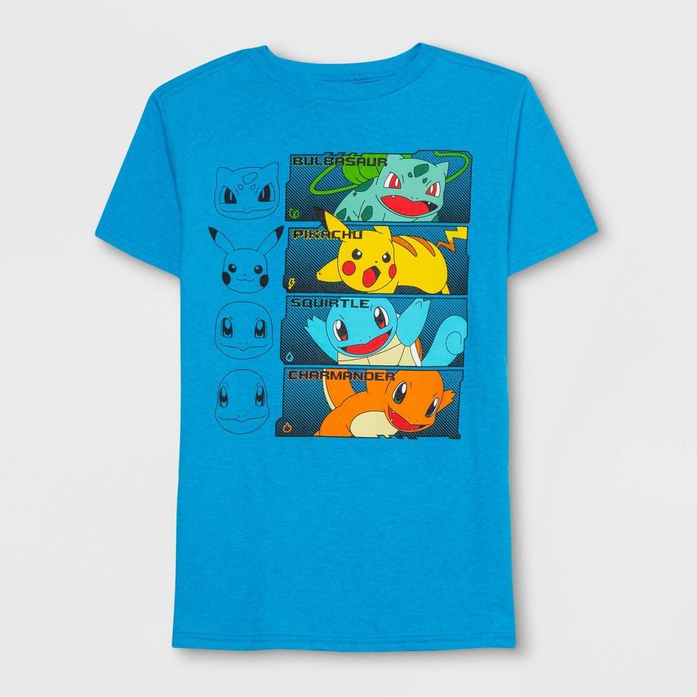 Boys' Pokemon Grid Short Sleeve T-Shirt - Turquoise Heather S, Blue