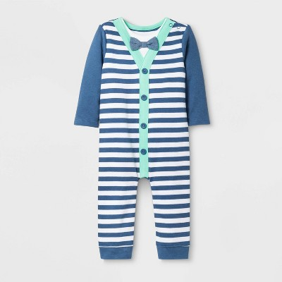 Baby Boys' Long Sleeve Little Man Romper - Cat & Jack™ Blue 6-9M