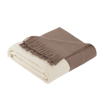 60 x50  Color Block Faux Cashmere Throw Blanket Taupe