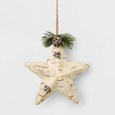 Faux Birch Wrapped Star Christmas Ornament White   Wondershop™ by Wondershop…