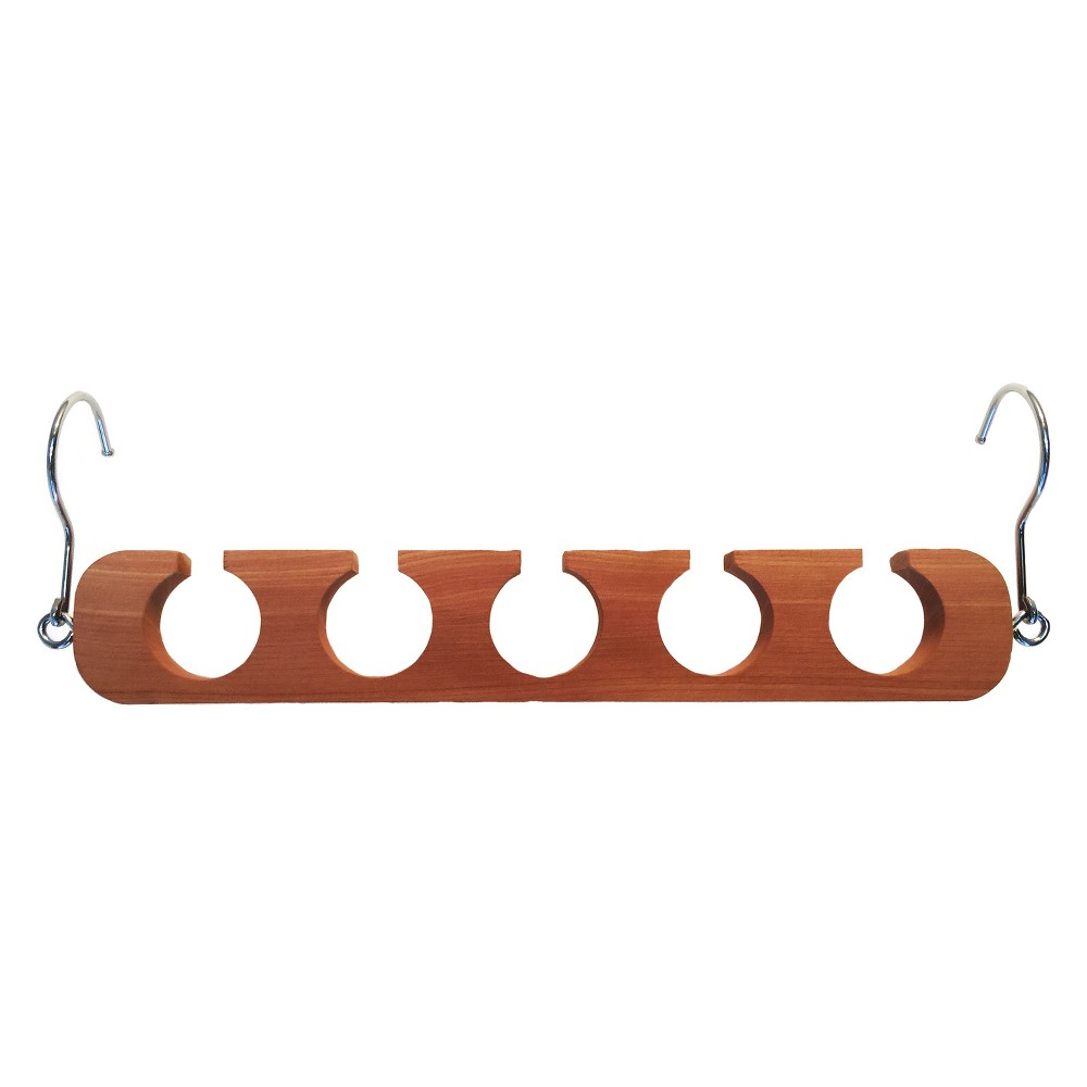Hangers Bronze Cloud Axis International, Brown Our Cedar Hanger Spacing organizer is perfect for any closet. This 2-in-1 feature allows you to either hang it up by both ends for closet spacing, or, remove one hook to drop it vertically for increase hanging of hangers. This clothing closet organizer is made from cedar which is extremely durable. Our Cedar Space Saving clothing organizer holds 5 pieces of clothing. Color: Brown.