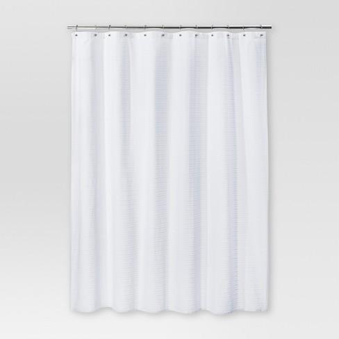 Woven Stripe Shower Curtain White