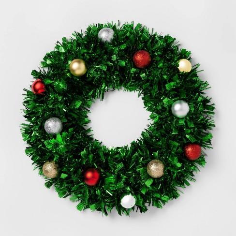 Christmas Tinsel Wreath with Shatterproof Ornaments Green - Wondershop™ - image 1 of 1