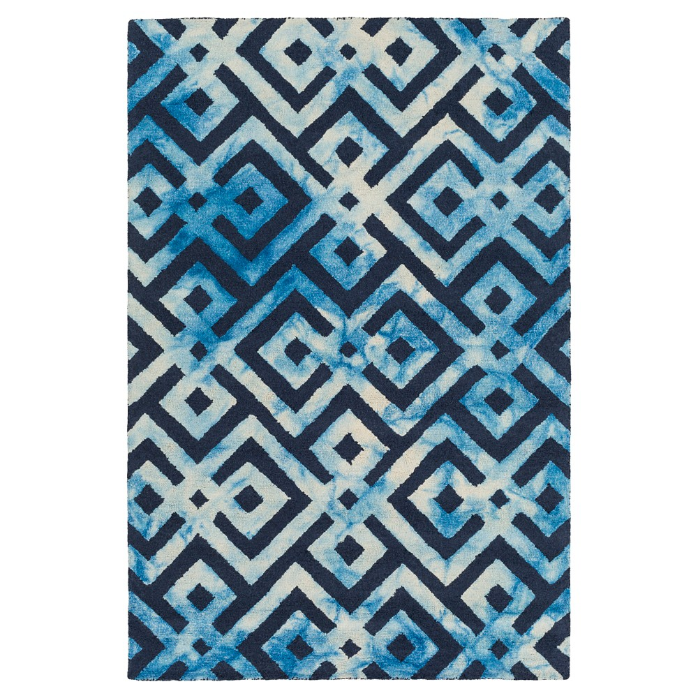 Navy (Blue) Abstract Hooked Area Rug - (9'X13') - Surya