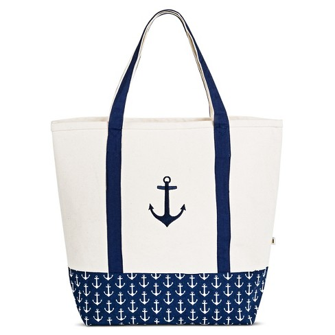 DEI Women's Canvas Embroidered Anchor Tote Handbag - Blue - image 1 of 2