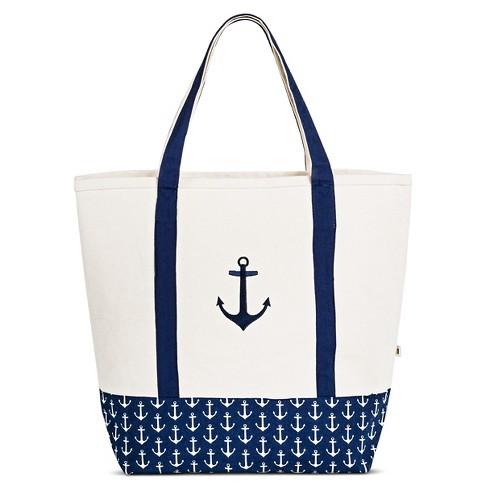 Dei Women S Canvas Embroidered Anchor Tote Handbag Blue