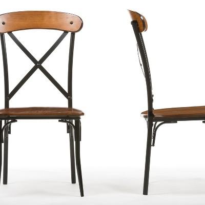 Set of 2 Broxburn Wood & Metal Dining Chairs Brown - Baxton Studio