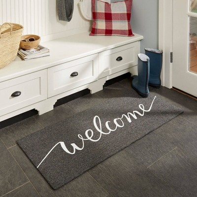 """18"""" x 48"""" Mia Welcome Outdoor Mat Charcoal - Home Dynamix"""
