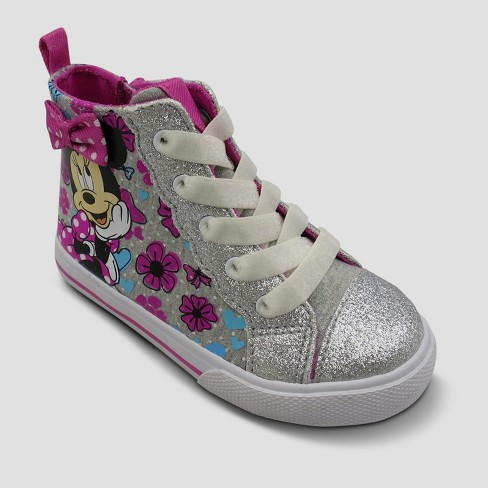 Toddler Girls' Disney Minnie Mouse High Top Sneakers - Silver 5 - image 1 of 3