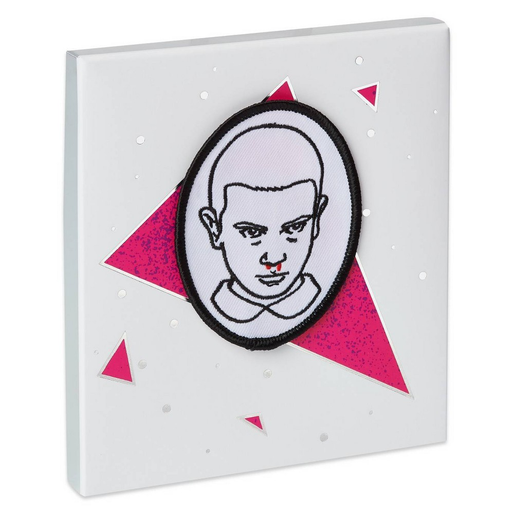 Image of Stranger Things Eleven Gift Card Holder Greeting Card with Patch, White Pink