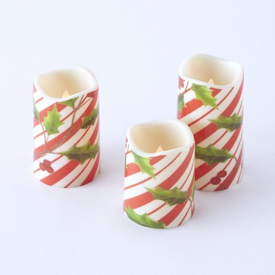 Lakeside LED Candy Cane Motif Christmas Candles with Faux Floral Holly Leaves - Set of 3