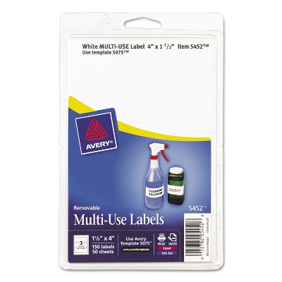 Avery Removable Multi-Use Labels 1 1/2 x 4 White 150/Pack 05452