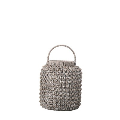 Small Woven Water Hyacinth Lantern with Glass Insert & Handle Whitewashed - 3R Studios