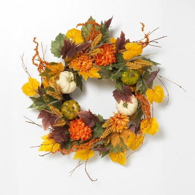 Gerson International 26-Inch Diameter Harvest Wreath with Pumpkin and Berry Accents.