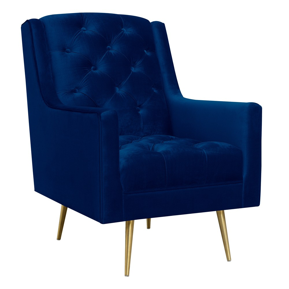 Reese Accent Chair With Gold Legs Navy Blue - Picket House Furnishings