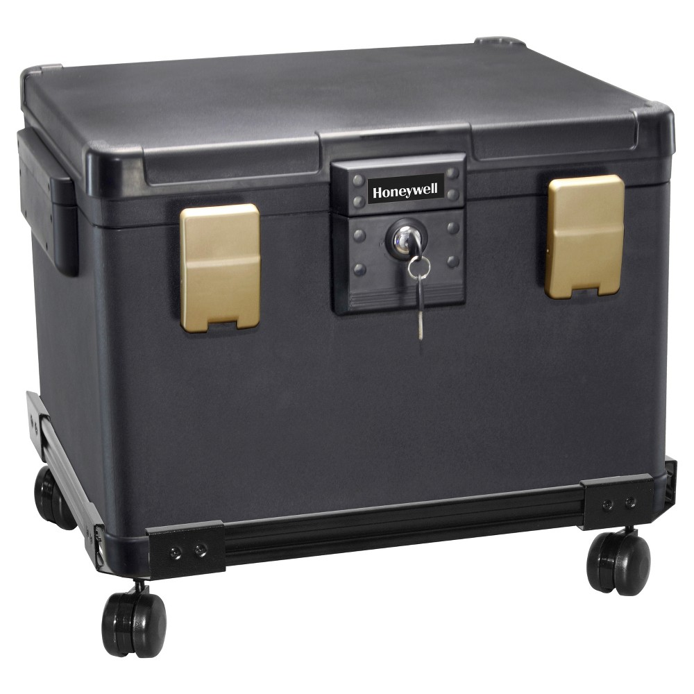 Image of Honeywell 0.60 cu ft/Waterproof 1/2 Hr. UL Fire Letter Size File Chest & Wheel Cart, Black