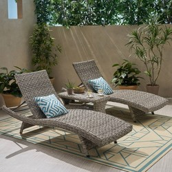 Crete 3pc Wicker Chaise Lounge and Table Set - Gray - Christopher Knight Home
