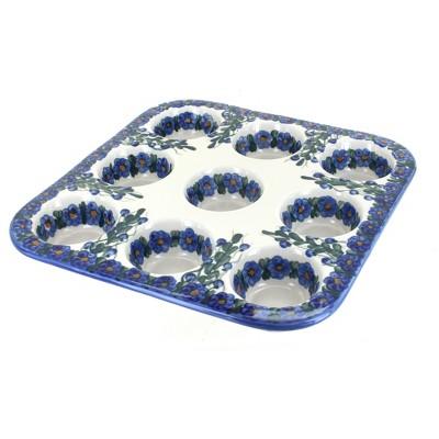 Blue Rose Polish Pottery Pandora Nine Muffin Pan