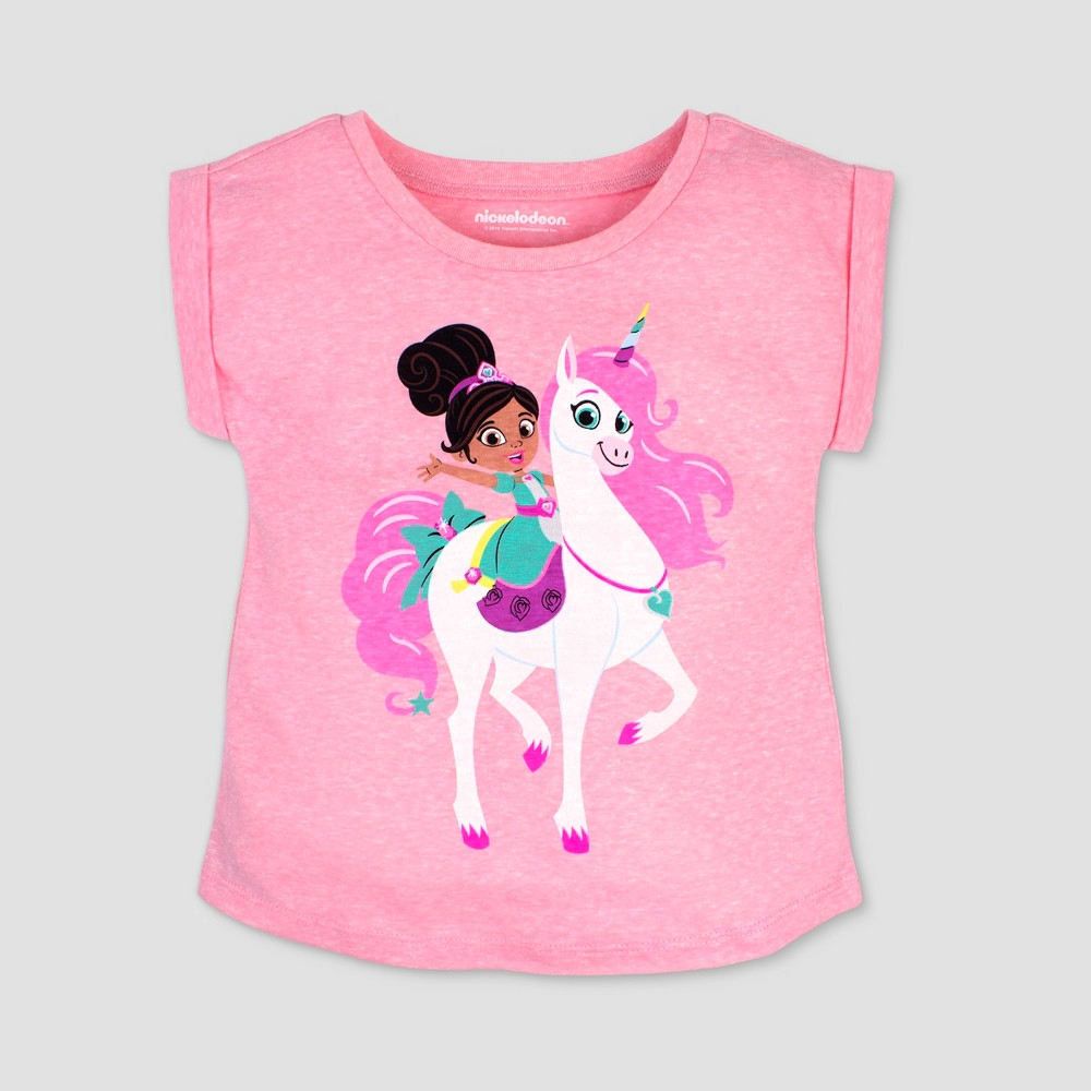 Toddler Girls' Nickelodeon Nella the Princess Knight Unicorn Short Sleeve T-Shirt - Pink 3T