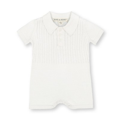 Hope & Henry Layette Baby Short Sleeve Cable Knit Sweater Romper, Infant