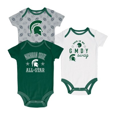Michigan State Spartans Baby Boy Short Sleeve 3pk Bodysuit - 3-6M