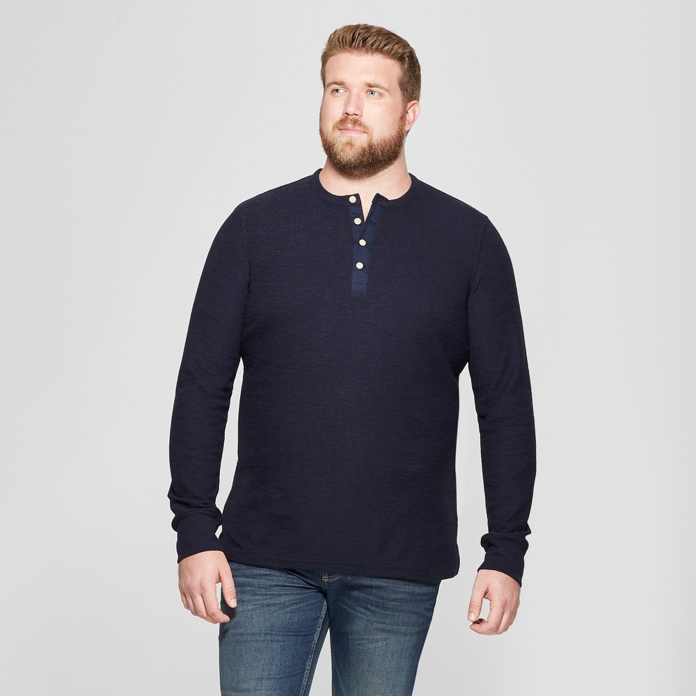 Men's Tall Long Sleeve Textured Henley Shirt - Goodfellow & Co Federal Blue MT