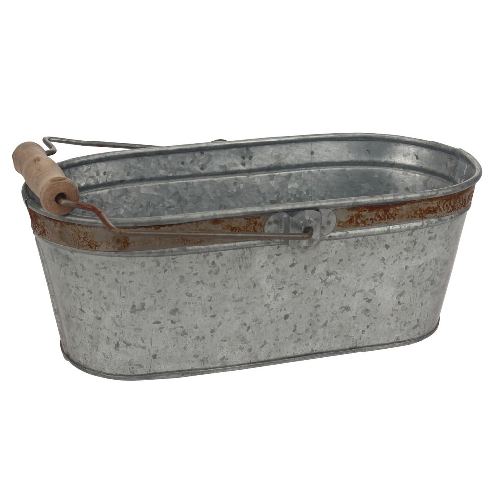 Image of Aged Galvanized Oval Bucket with Rust Trim and Handle - Gray - Stonebriar