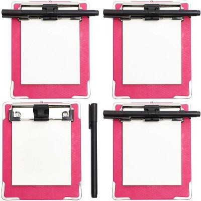 Juvale 4-Pack Pink Mini Magnetic Clipboard with Pen & Notepad for Fridge 6 x 4.75 in