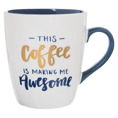 27oz Stoneware This Coffee Is Making Me Awesome Jumbo Mug White Blue Threshold Target
