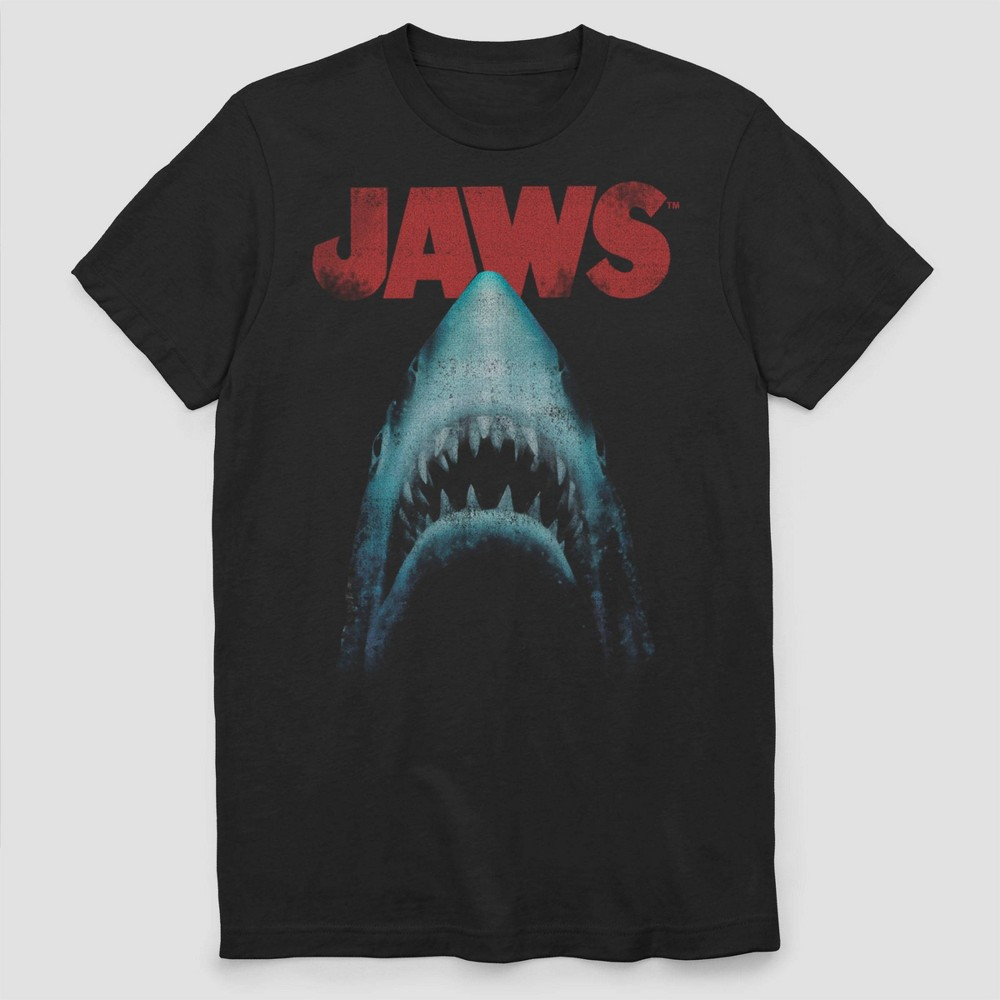 Image of Men's Big & Tall Jaws The Movie Short Sleeve Graphic T-Shirt - Black 3XL, Men's