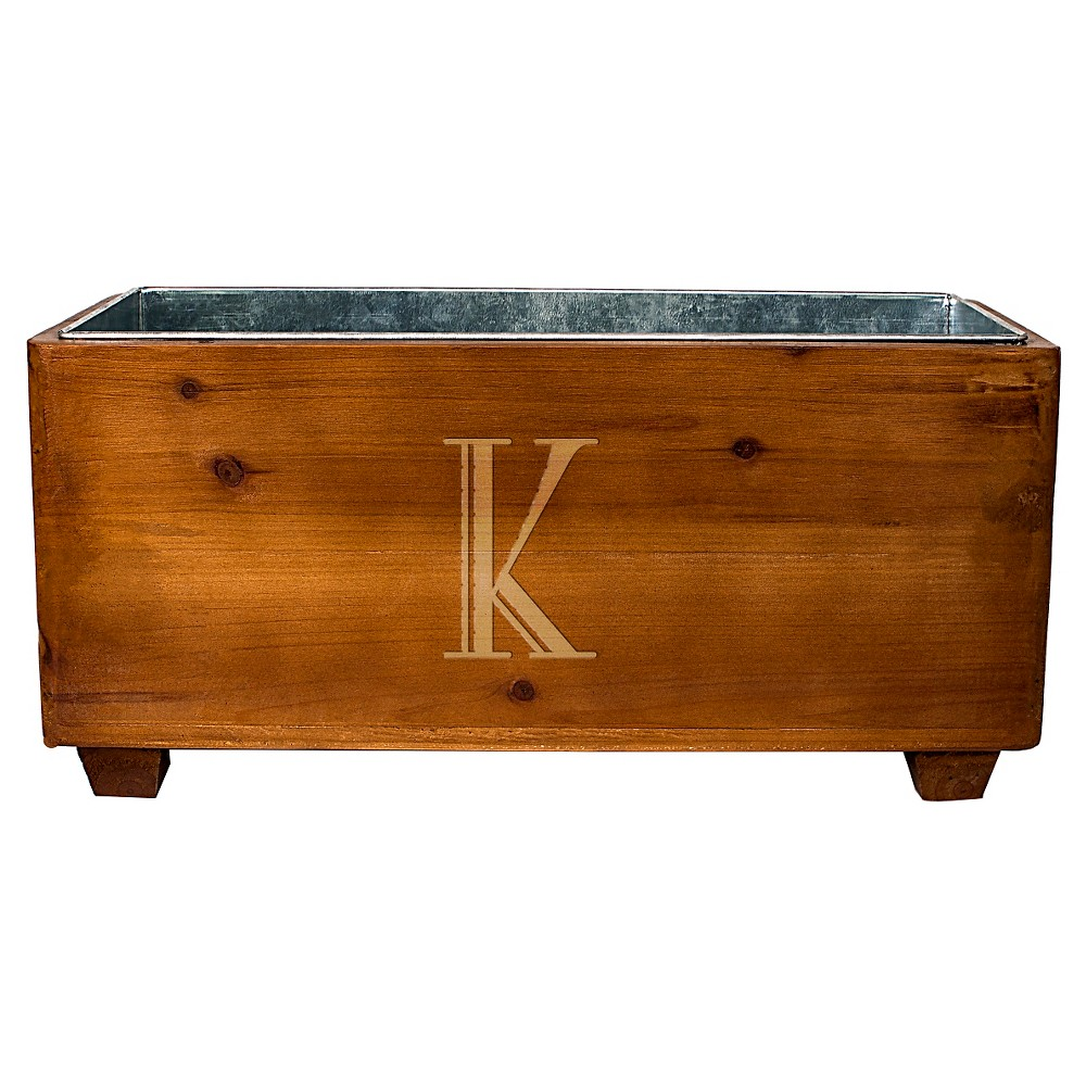 Cathy's Concepts Personalized Wooden Wine Trough - K, Brown