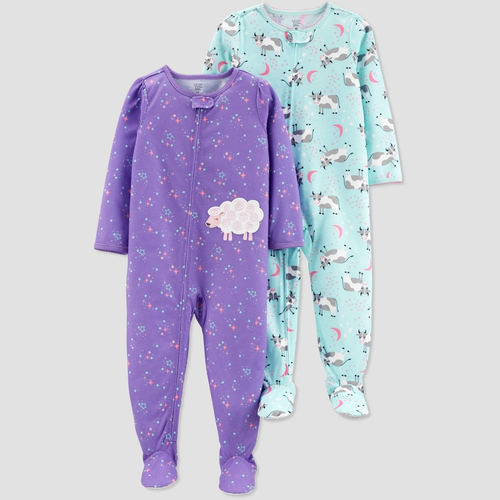 Baby Girls' Purple Sheep Cow Poly Footed Sleepers - Just One You made by carter's Purple/Aqua 18M
