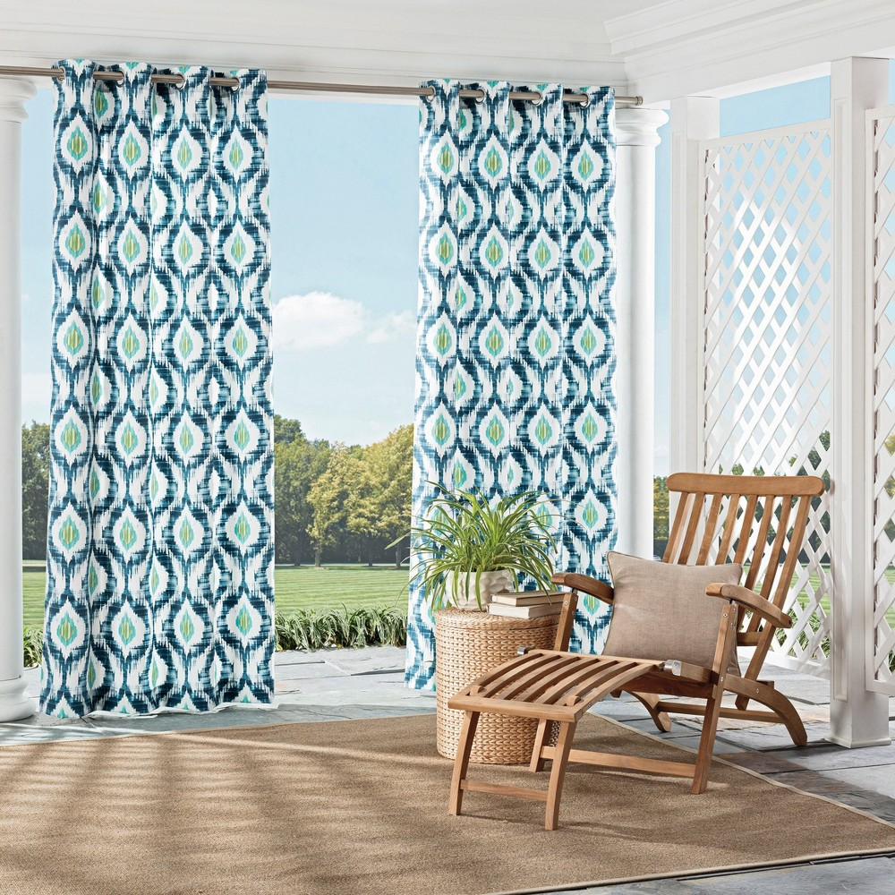 Barbados Indoor/Outdoor Geometric Curtain Panel Blue (52