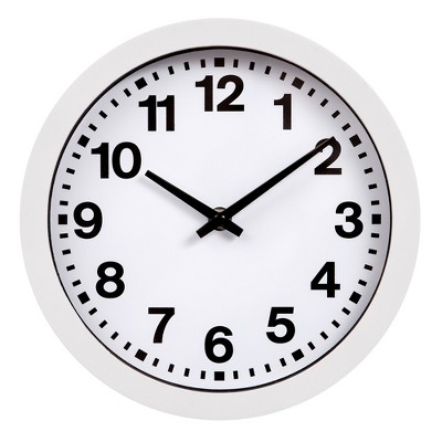 """9"""" Round White Wall with Bold Numbers Wall Clock White - Patton Wall Decor"""