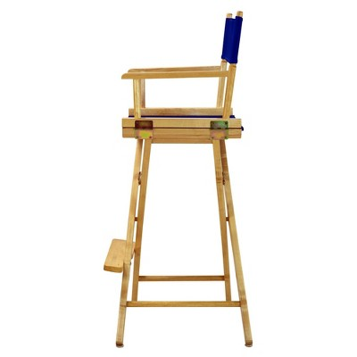 Bar-Height Director's Chair - Natural Frame, Blue Canvas, Royal Blue
