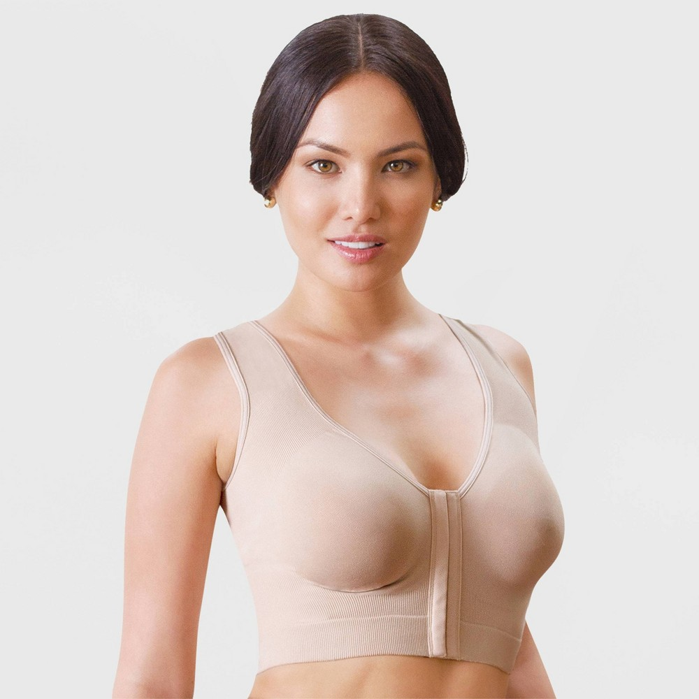Image of Annette Women's Front Close Longline Bras - Beige M/L, Size: Medium/Large