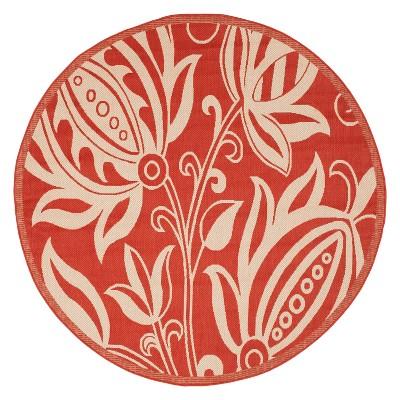 Gori Round 7'10  Outdoor Patio Rug - Red / Natural - Safavieh®