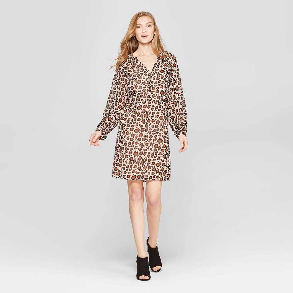 Women's Leopard Print Long Sleeve Chiffon Dress - A New Day Tan XS, Brown