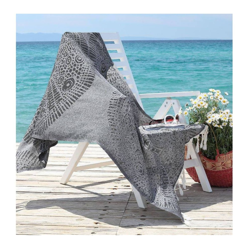 Image of Anatolian Pattern Pestemal Beach Towel Black - Linum Home Textiles