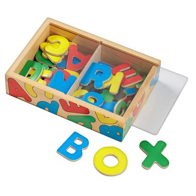 Melissa & Doug® 52 Wooden Alphabet Magnets in a Box - Uppercase and Lowercase Letters