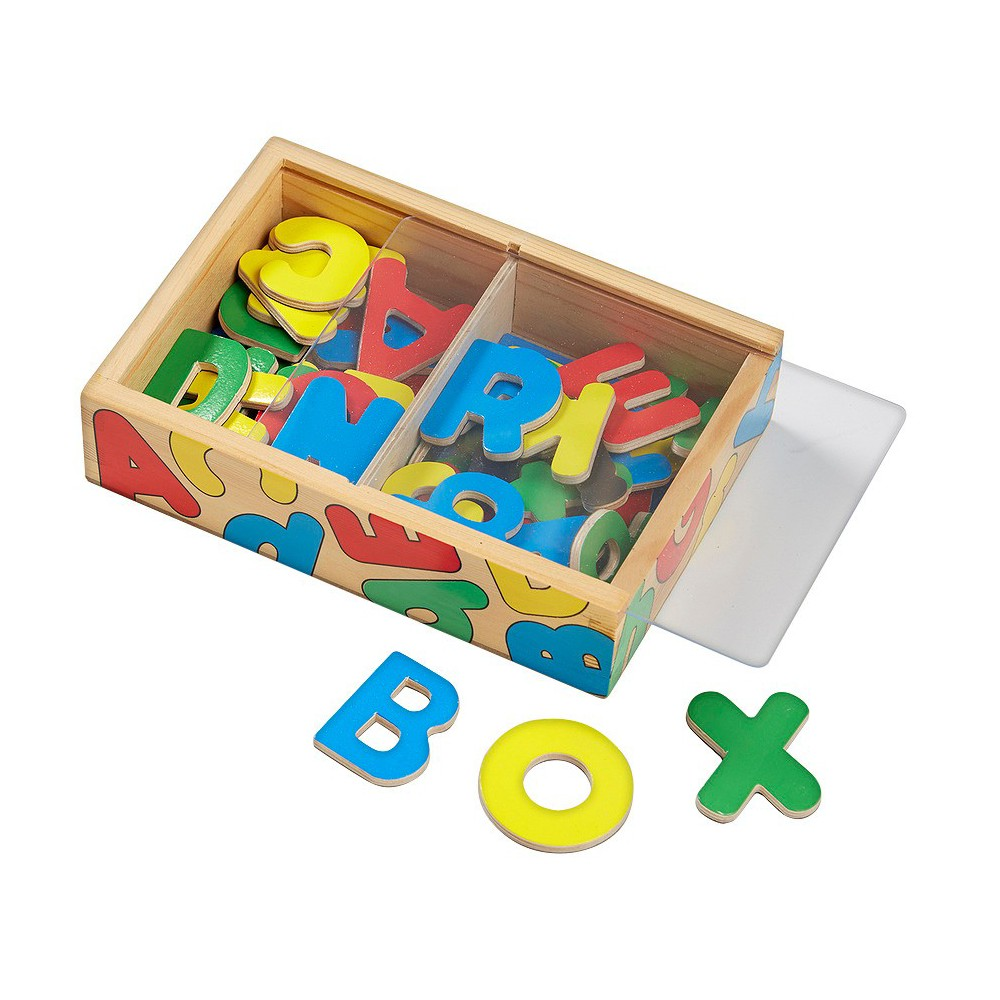 Melissa & Doug 52 Wooden Alphabet Magnets in a Box - Uppercase and Lowercase Letters