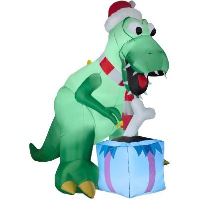 Gemmy Christmas Airblown Inflatable T Rex, 7.5 ft Tall, green