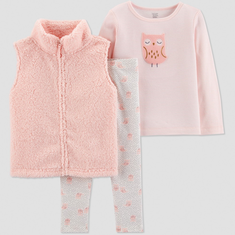 Toddler Girls' 3pc Sherpa Owl Vest Set - Just One You made by carter's Peach/White 2T, Pink