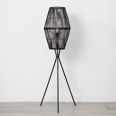 Rattan Diamond Tripod Floor Lamp Black (Lamp Only)- Opalhouse™