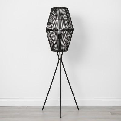 view Rattan Diamond Tripod Floor Lamp Black - Opalhouse on target.com. Opens in a new tab.