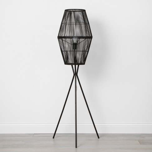 Rattan Diamond Tripod Floor Lamp Black - Opalhouse™ - image 1 of 4